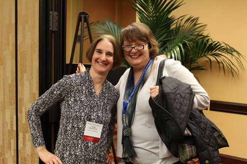Veteran senior mentors <strong>Terra McKinnish</strong> (University of Colorado at Boulder, CSWEP Associate Chair and Director of Mentoring Programs) and <strong>Nancy Lutz</strong> (NSF Program Director in Economics), attending the 4th Annual CSWEP Mentoring Breakfasts at the 2016 AEA Meetings in San Francisco.